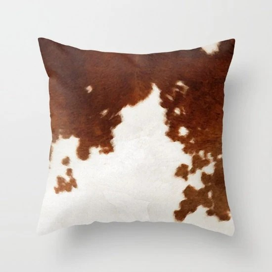 Cowhide Pillow Cow Print Pillow Brown and White Cow Pattern