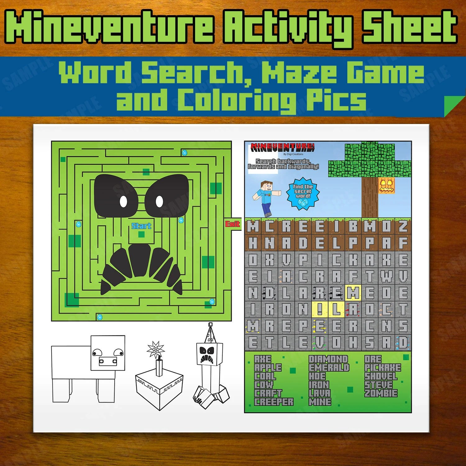 Mineventure Activity Sheet Instant Download Maze Word
