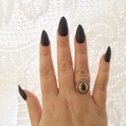 matte black stiletto nails glossy