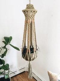 Vintage macrame LAMP and plant holder hanging light fiber