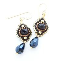 Black and Gold Earrings Flower Dangle Earrings Black