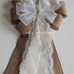 Burlap Bows For Wedding Chairs Massage Chair Brookstone Rustic Country Aisle Bow Ivory Lace Pew