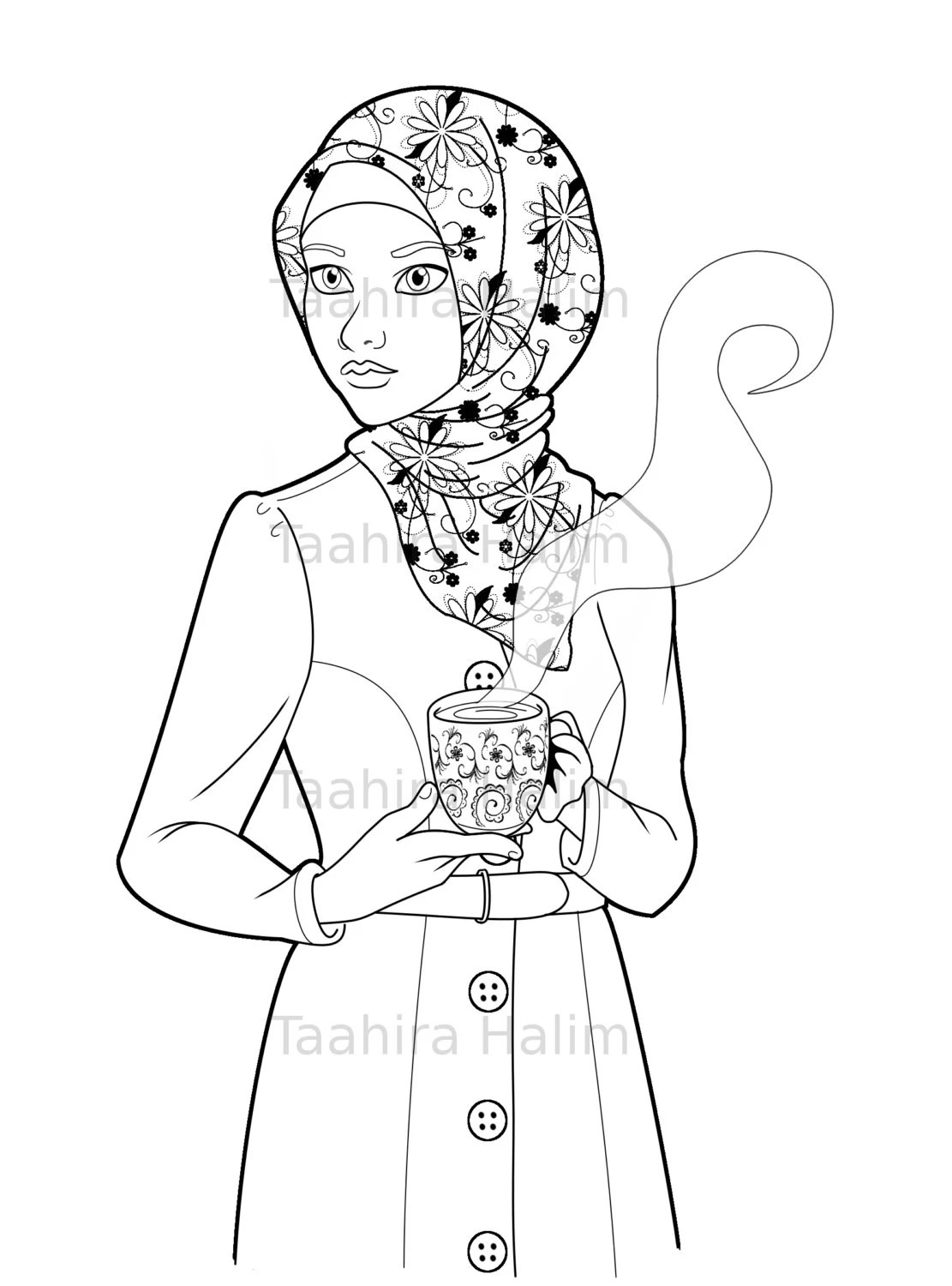 Items similar to Muslim Hijabi Coloring Book Page Download