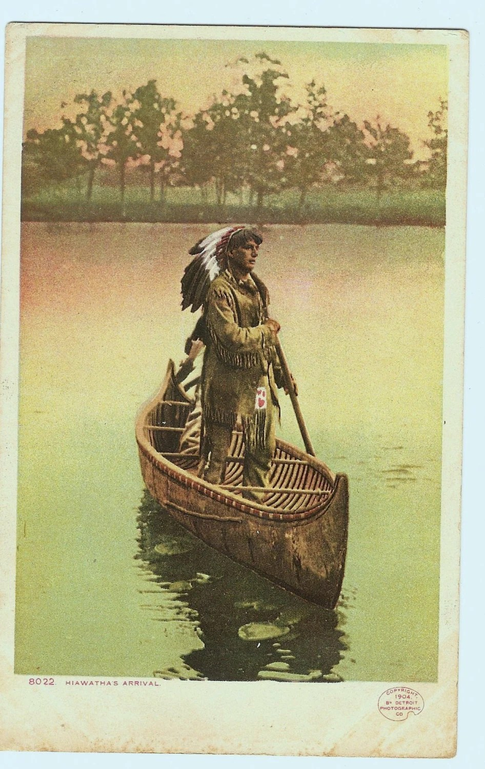 Antique Phostint Postcard Native American Indian Canoe