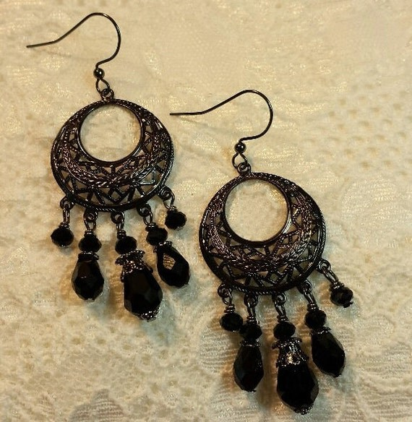 Black Chandelier Earrings Boho Earrings Black Crystal