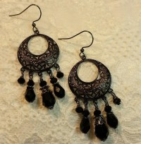 Black Chandelier Earrings Boho Earrings Black Crystal