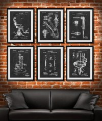 SET of 6 DENTAL Art Posters Dentist Patent Illustration Art