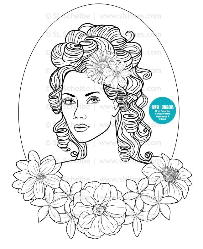 Digital stamp pretty lady with flowers in her hair adult