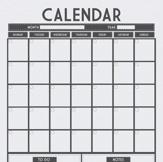 Monthly Calendar A3 Linen print Use as dry erase/whiteboard