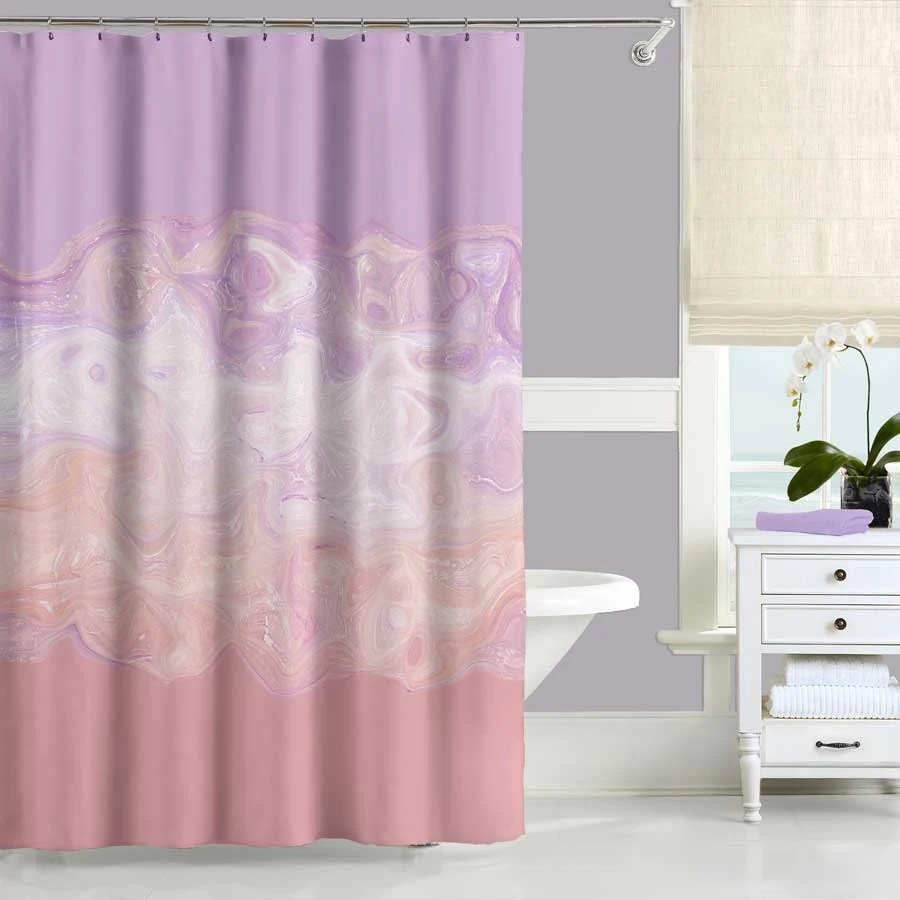 Blush Pink Shower Curtain Purple Abstract Shower Curtain