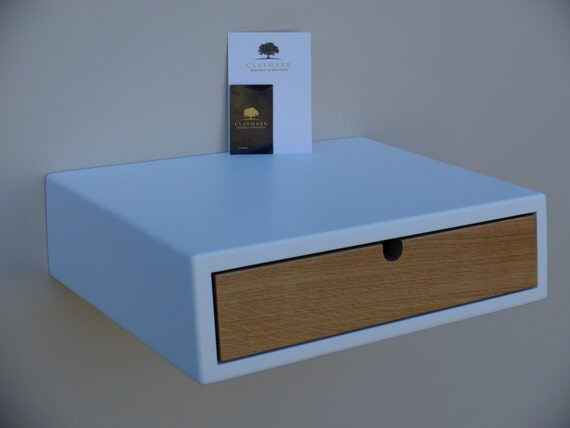 Floating White Bedside Table With 1 Drawer Made Of Oak. Night