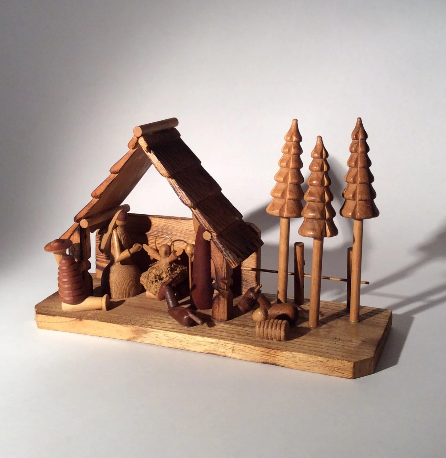 Vintage Wooden Christmas Nativity Scene