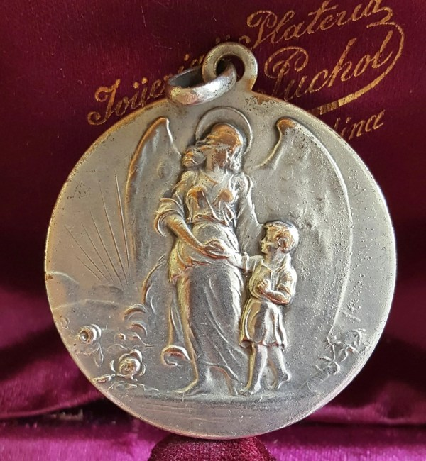 Large Vintage French Silver Plated Guardian Angel Medal