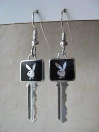 Playboy Bunny Key Earrings Pierced Wire Enamel Black Silver