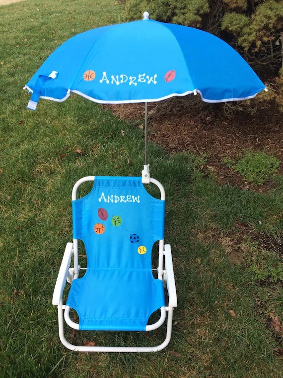 Personalized beach chair  umbrella for kids