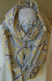 Infinity Scarf with Hidden Pocket Grey and Yellow Medallion
