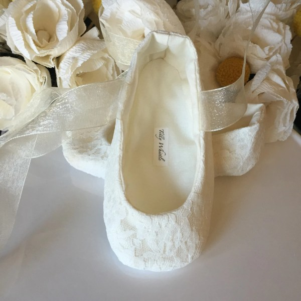 Ivory White Lace Ballet Slippers Flower Girl Shoes Baby