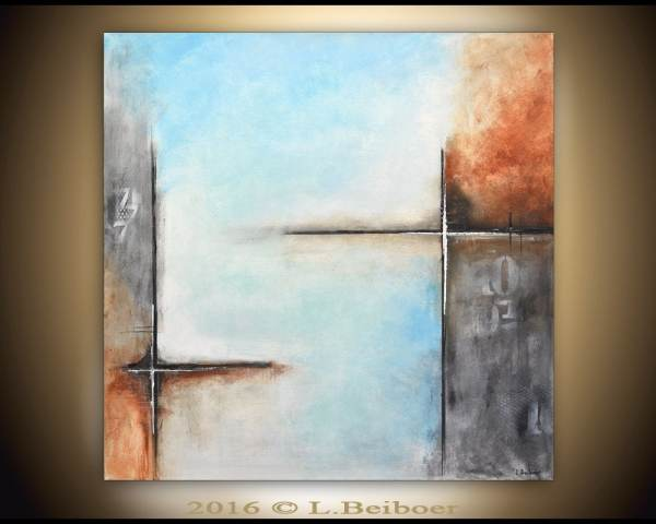 Abstract Painting Original Large Square 36x36 Gray