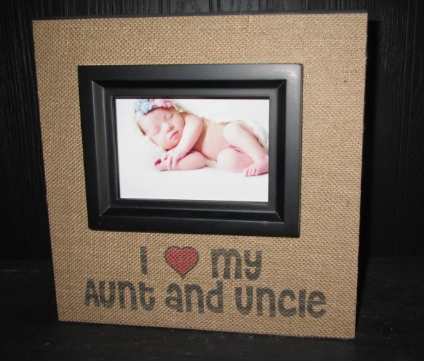 Love Aunt And Uncle Frame Burlap Wood