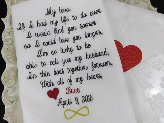 Groom Handkerchief-Embroidered Wedding Gift-HUSBAND And WIFE