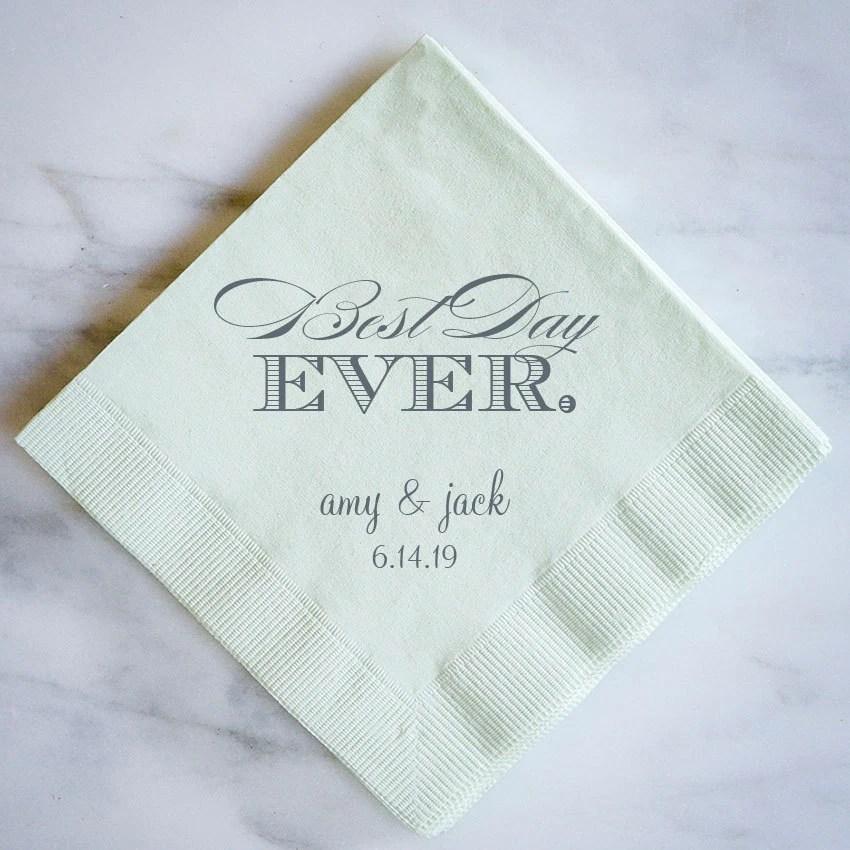 Best Day Ever Personalized Napkins Custom Wedding Napkins