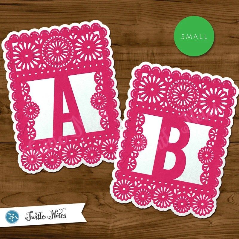 Small Pink White Papel Picado Printable Banner All