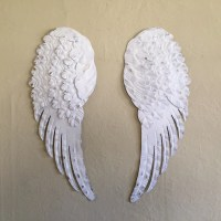 Large Angel wings metal shabby chic soft white hand