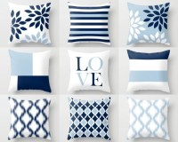 Throw Pillow Covers Light Blue White Navy Blue by ...