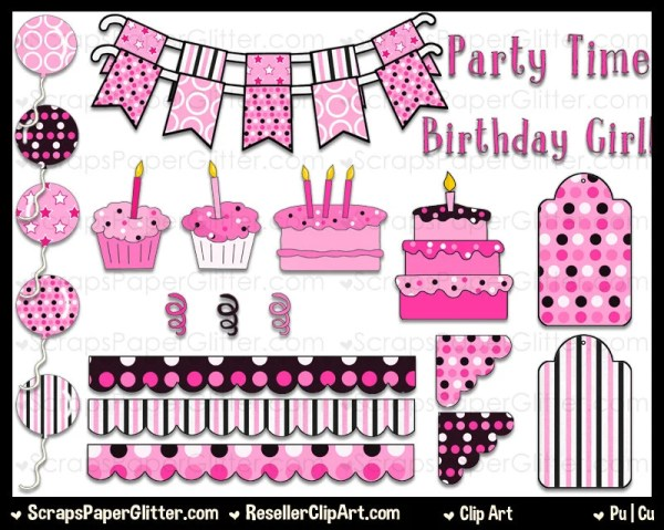 pretty in pink birthday clip art