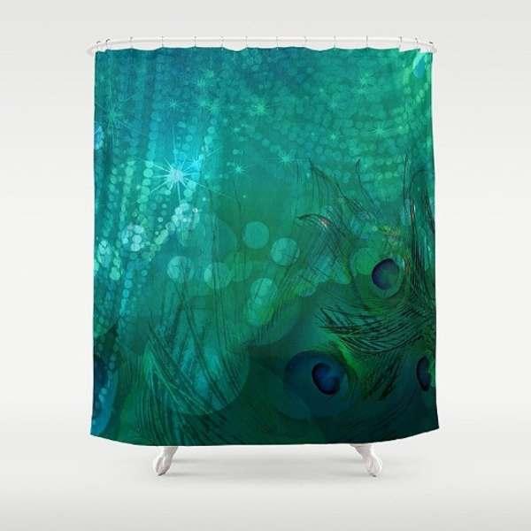 Teal Peacock Shower Curtain