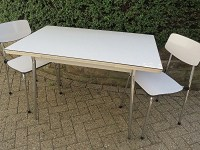 Vintage Kitchen Table Formica Tabletop/ Chrome Legs