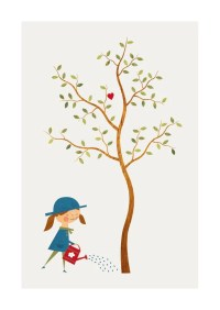 Garden Print Baby Girl Nursery Decor Tree Illustration Wall