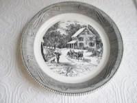 PIE PLATE Royal China Jeannette Vintage Glass Black White