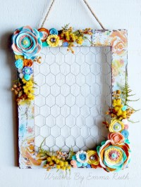Floral Print Wood Chicken Wire Wall Hanging by ...