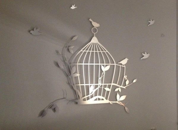 Birdcage And Flying Birds Metal Wall Art Decor