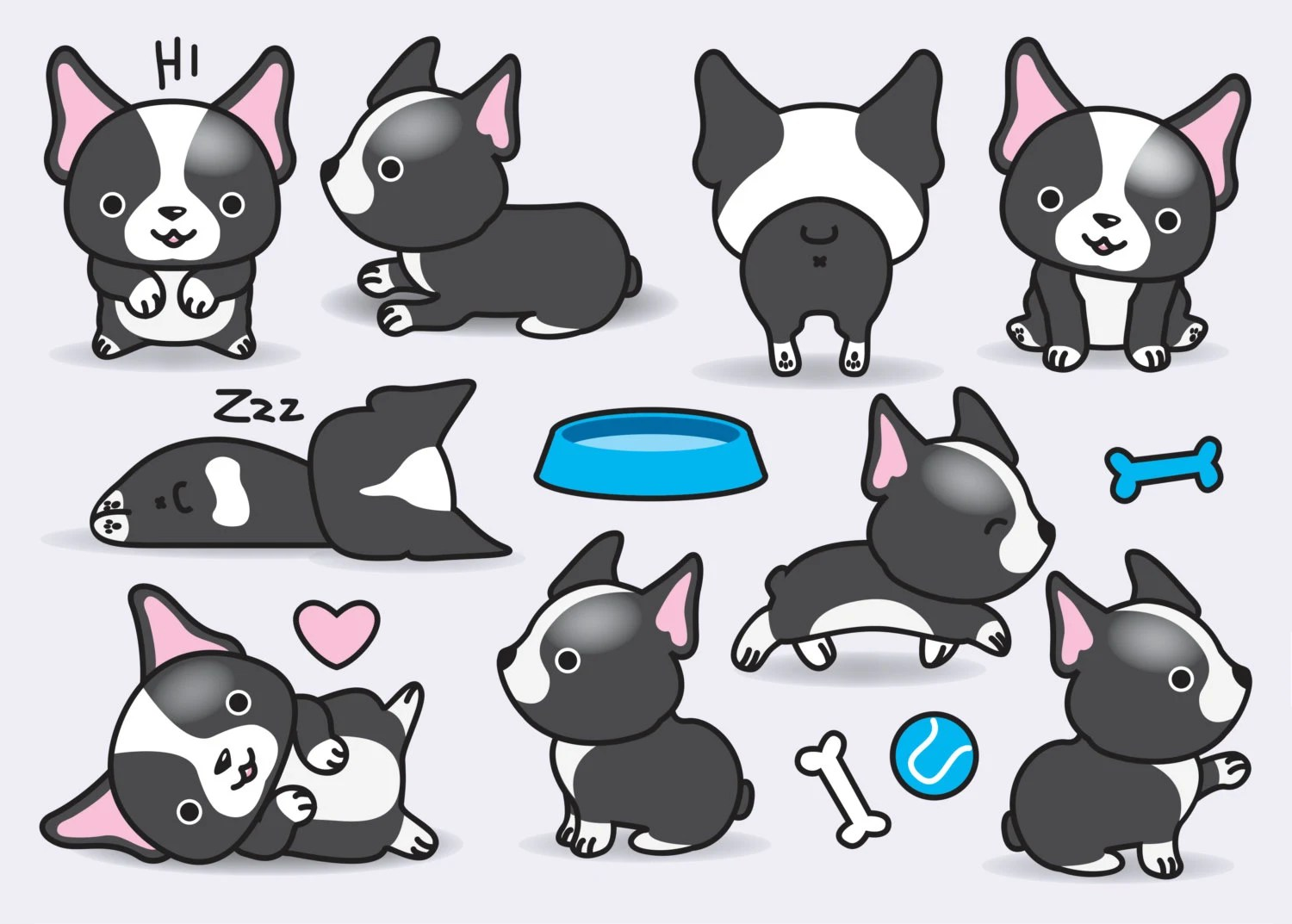 Cute Cartoon Penguins Wallpaper Premium Vector Clipart Kawaii Boston Terriers Cute Bostons
