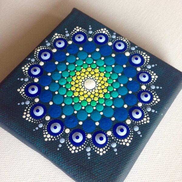 Original Dotart 10x10 Green Blue Mandala Painting Canvas