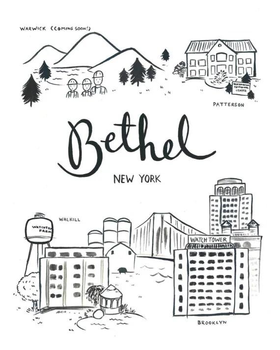 Bethel NY Illustration 8x10 Giclee Print