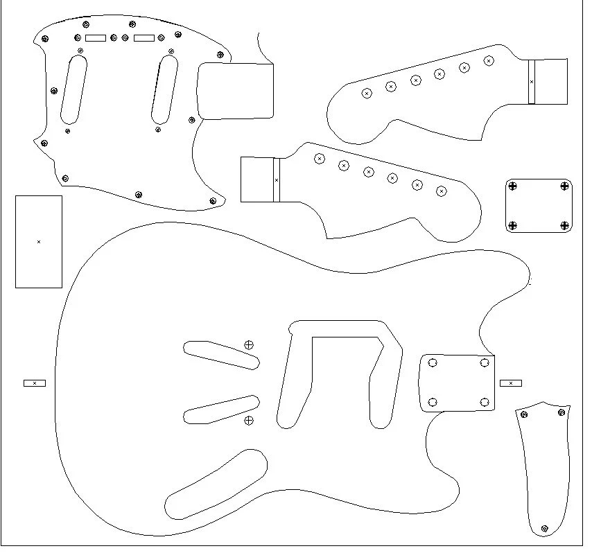 Fender Mustang routing template for guitar by TorontoMusicGear