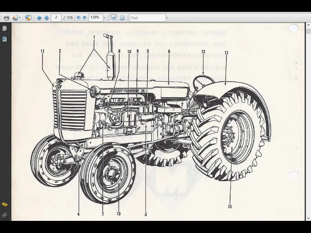 massey ferguson 135 parts diagram 96 mustang gt fuse mf135 manual 160pg with mf tractor
