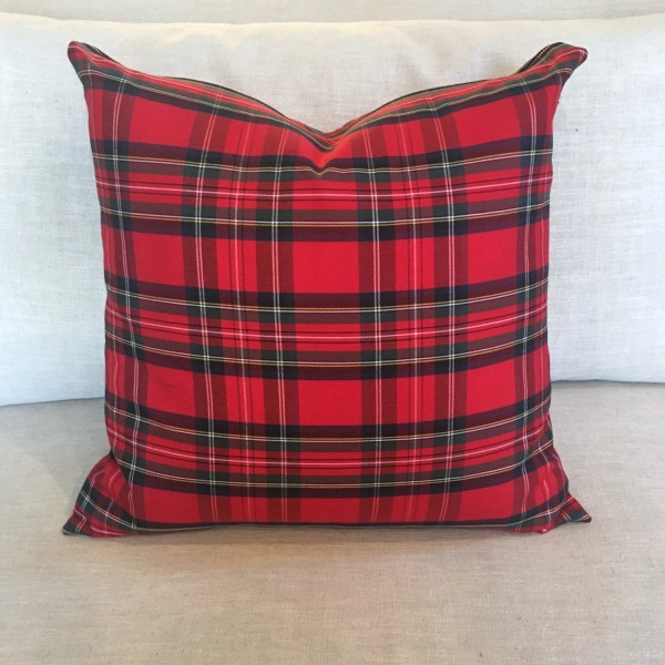 Tartan Pillow Cover 22 Square Plaid Red