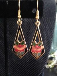 Vintage cloisonn earrings black cloisonn earrings black