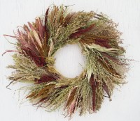 tan rust green and burgundy corn husk wreath/rustic