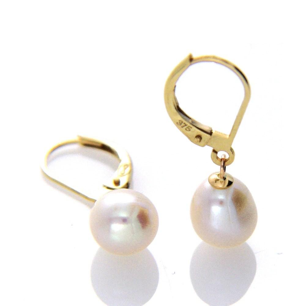 Pearl Leverback Earring White Pearl Drop Earring Hallmarked