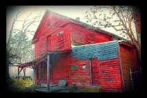 Abandoned Red Wooden Building Union Level Ghost Town Color
