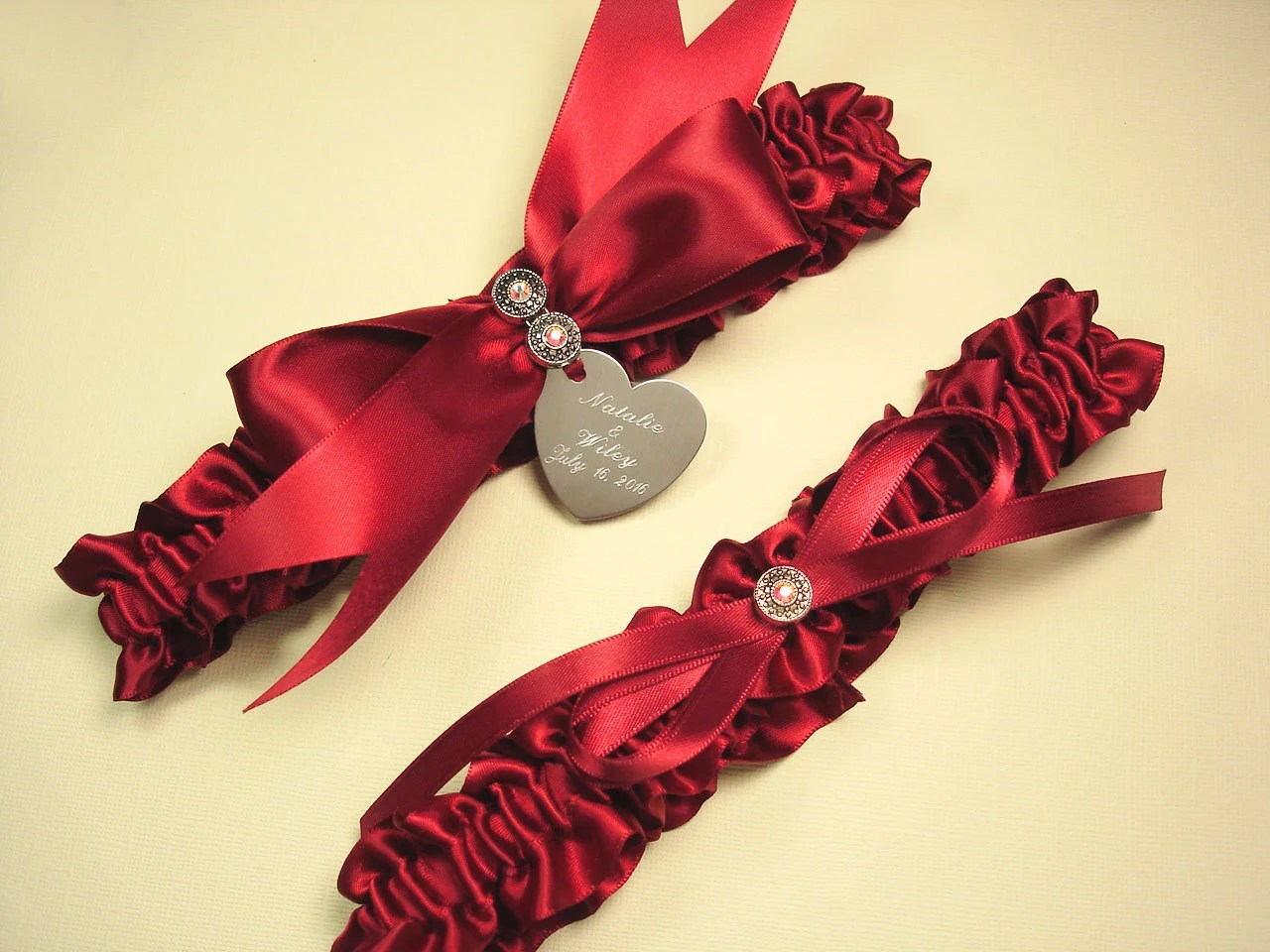 Personalized Red Wedding Garter Set With Swarovski Crystals