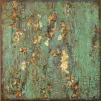 SOLD Textured Gold Leaf Turquoise Painting Original Rustic