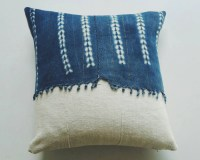 Blue and White Mudcloth Pillow Cover with by habitationBoheme