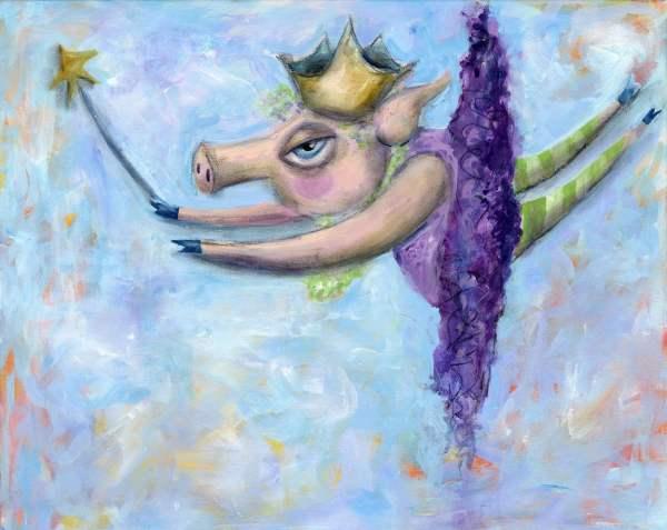 Flying Pig Fairy-art Print Paper-whimsical