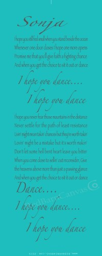 I hope you dance Customized Canvas Wall Art LARGE by ...